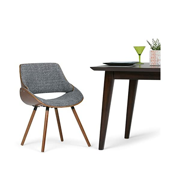 Simpli Home Malden Mid Century Modern Bentwood Dining Chair with Wood Back in Grey Woven Fabric - Chairs constructed using solid and engineered wood and high density foam for more comfortable seating Upholstered with Grey and Natural woven fabrics. Comfortable curved padded seat and seat back Walnut veneer on bentwood frame - kitchen-dining-room-furniture, kitchen-dining-room, kitchen-dining-room-chairs - 41DaEptgo2L. SS570  -