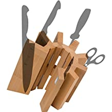 Artelegno 51 Pisa Magnetic Knife Block, Solid Beech Wood Natural Lacquer Finish