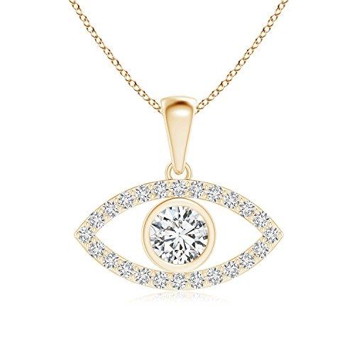 Pure Ignis Lab Grown Diamond Evil Eye Dangle Pendant in 14k Yellow Gold (Dangle 14k Yg)