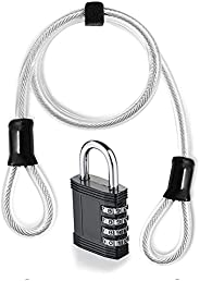 Cable Lock, Bike Chain Lock, Bike Lock with 4-Digit Combination Padlock, 16.4ft Bicycle Lock Combination Cable
