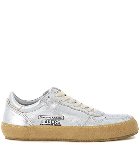 Philippe Model Lakers Vintage Silver Leather Sneaker Silver pb4hEspY8