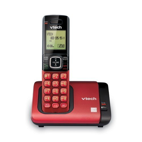 VTech CS6419-16 DECT 6.0 Cordless Phone with Caller ID, Expandable up to 5 Handsets, Wall Mountable, Red