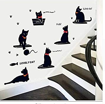 Waofe Nueva familia de gato etiqueta de la pared pvc lindo gatito sala de estar escaleras de fondo pegatinas en la pared diy calcomanía decoración para el hogar calcomanía: Amazon.es: Bricolaje y