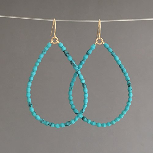 Turquoise Stone Hoop Earrings in Gold Fill, Rose Gold Fill, or Silver