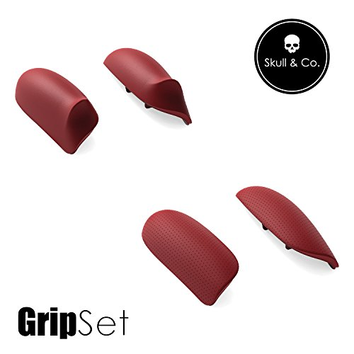 Skull & Co. Replaceable Grips Set: Snap/Trigger Grips [to fit All Hands Sizes] for Nintendo Switch [2 Pairs]- Mario Red [Super Mario Odyssey Edition]