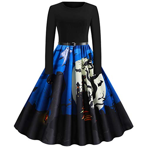 Dainzuy Women Halloween Dress,2019 Vintage Tea Dress Long Sleeve Casual Evening Party Prom Cocktail Swing Dress