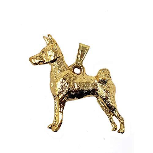 George Harris Basenji Dog 24k Gold Plated Pewter Pendant
