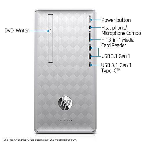 HP Pavilion Desktop Computer, Intel Core i7-8700, 12GB RAM, 1TB Hard Drive, Windows 10 (590-p0070, Silver)
