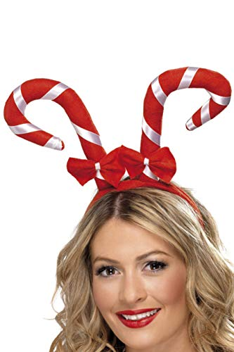 Candy Cane Headband With Bows, Red