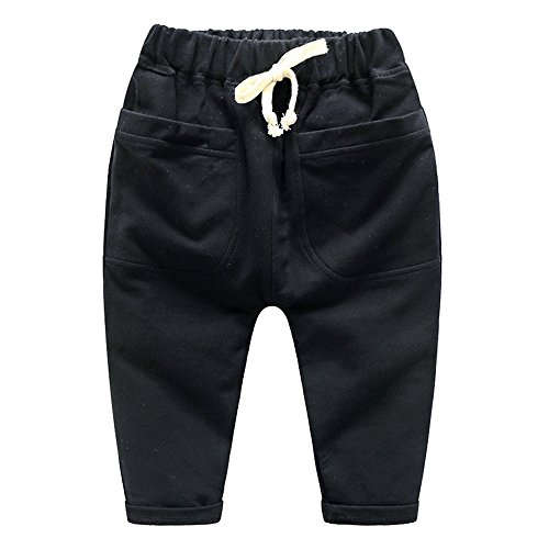 Ding-dong Kid Boy Solid Pocket Cotton Pants(Black,4T) (Any Day Chino Pants)