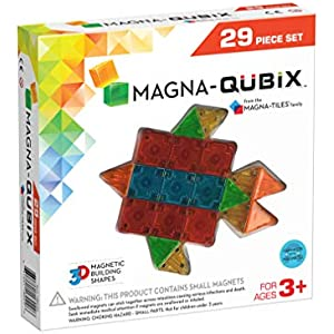 Magna-Qubix 29-Piece Clear Colors Set - The Original, Award-Winning Magnetic 3D Building Shapes - Creativity and Educational - STEM Approved