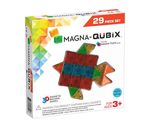 - Magna-Qubix 29-Piece Clear Colors Set - The Original, Award-Winning Magnetic 3D Building Shapes - Creativity and Educational - STEM Approved