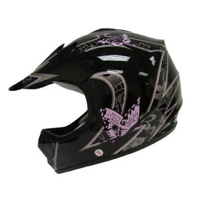 TMS Youth Kids Pink Butterfly Dirtbike Atv Motocross Helmet Mx (Large)