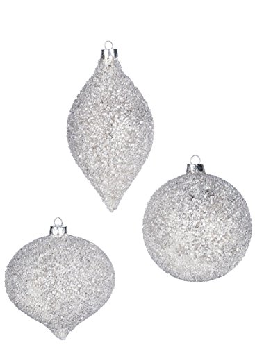 Ice Crystal Ball Drop Finial 5 inch Glass Christmas Ornaments, Set of 3