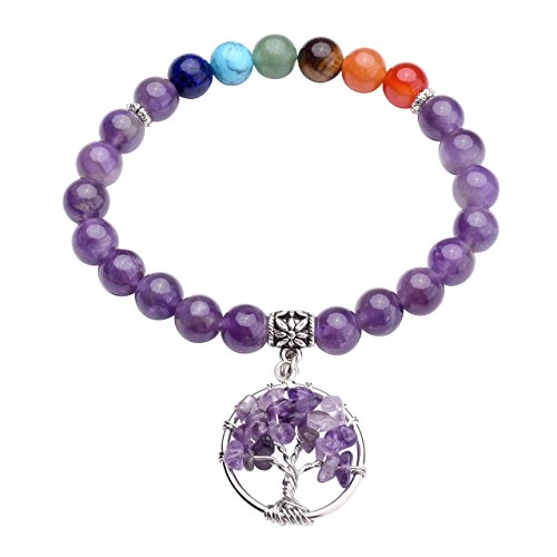 Silver Tone Tigers Eye - Top Plaza 7 Chakra Reiki Healing Stone Beads Stretch Bracelet with Silver Tone Tree of Life Charm Gemstone Meditation Balancing, Amethyst