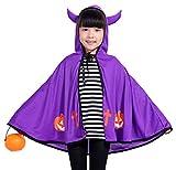Kids Halloween Witch Cosplay Cape Hooded Dress-up Cloak Performance Poncho Shawl Dress - Purple