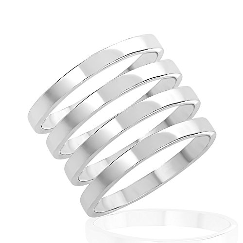 (925 Sterling Silver Thin Band Stackable Midi Finger Thumb Ring Set of Four (4) Unisex Rings Size 3)