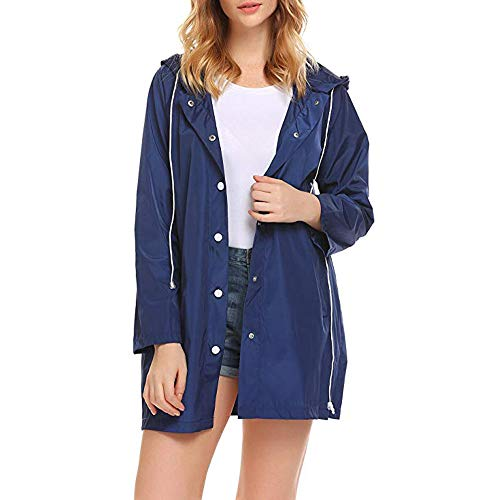 HULKAY Womens Tops Sale Clearance Premium Stylish Long Sleeve Pure Color Button Lightweight Hooded Raincoat Coats(Blue,M)