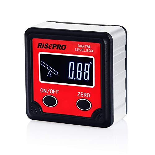 RISEPRO Digital Level Box Angle Gauge Protractor Inclinometer Bevel Box with Magnet Base & LCD Backlight, Calculating for Carpentry, Building, Masonry, Automobile ()