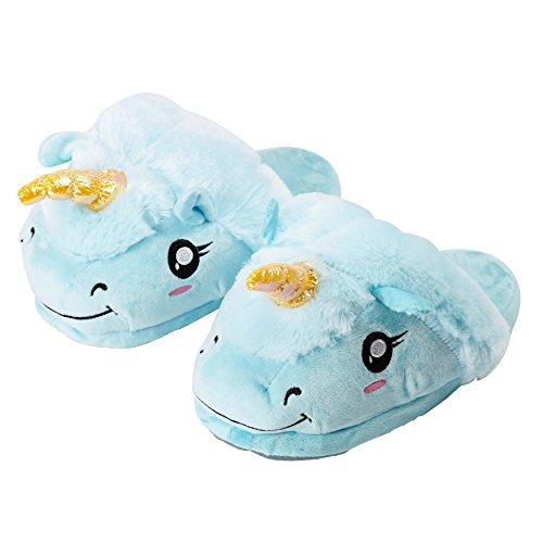 Yuwell Volwassen Pluche Eenhoorn Slippers Winter Warm Indoor Huis Slippers Homewear Voeten Kostuum Blauwe Slippers