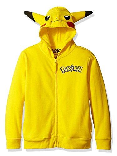 Pikachu Hoodie With Ears (Pokemon Boys Big Boys Pikachu Costume Hoodie, Yellow, Medium/8)