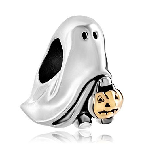Pugster Gold Plated Jack-o-lantern Weird Halloween Ghost Pumpkin Candy Charm Fits Pandora Bead by Pugster