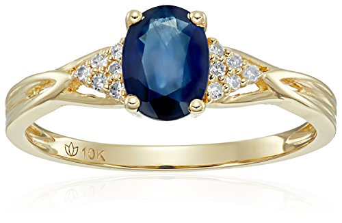 10k Yellow Gold Genuine Blue Sapphire and Diamond Accented Classic Solitaire Engagement Ring, Size - Diamond Ring Sapphire Engagement