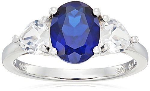 Sterling Silver Oval Created Ceylon Sapphire and Created White Sapphire Ring, Size (Oval Sapphire Twist)