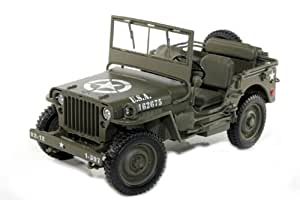 1/4 Ton US Willys Army Jeep Top Down 1/18 by Welly 18036 by Welly