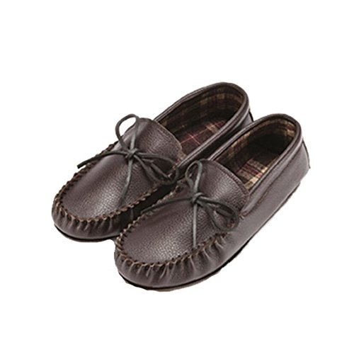 Dark Leather Fabric Unisex Lined Eastern Brown Counties Moccasins 45qTPPYw