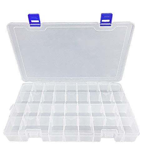 DUOFIRE Plastic Organizer Container Storage Box Adjustable Divider Removable Grid Compartment for Jewelry Beads Earring Container Tool Fishing Hook Small Accessories(34 Grids, White X 2 Pack)