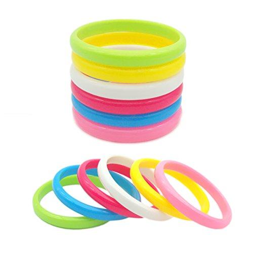JSEA 2pcs 10mm Acrylic Candy Color Bracelets Bangle Set Red Blue White Pink Bracelet