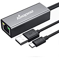 Ethernet Adapter for TV Stick, Fire Stick Ethernet Adapter 4K, KOOPAO Micro USB to RJ45 Ethernet Adapter with USB Power…