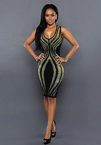 Baymate Mujer Irregular Impresión Slim Fit Vestidos Sin Mangas Bodycon Vestido De Fiesta Vestido Amarillo