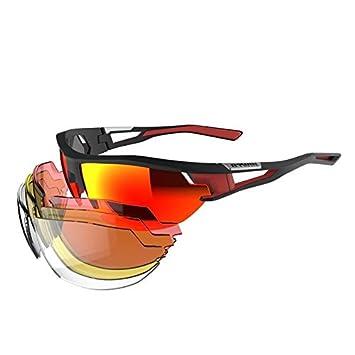 Decathlon Btwin Cyclisme 700 Lot Adulte Cyclisme Lunettes de soleil 4 lentilles interchangeables, Red