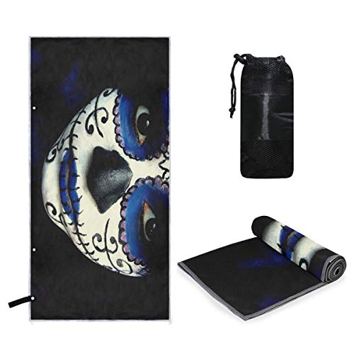Rachel Dora Microfiber Towel Guy Sugar Skull Makeup Perfect Sports Travel Beach Towels Fast Drying - Super Absorbent - Ultra Compact. Suitable for Camping, Gym, Beach, Swimming, Backpacking. ()