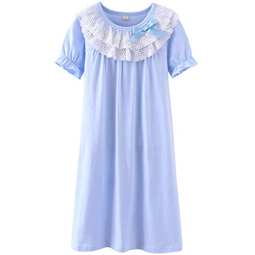 DGAGA Little Girls Princess Nightgown Cotton Lace Bowknot Sleepwear Nightdress Blue 7-8 Years /140cm -