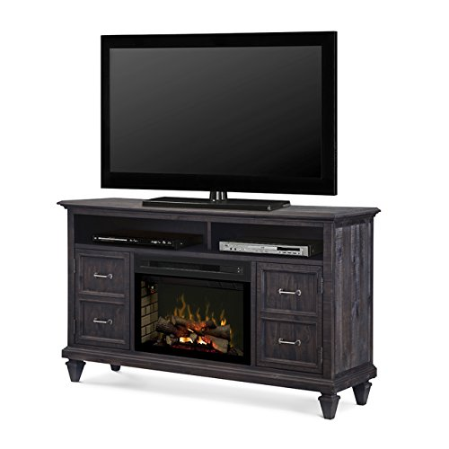 Dimplex Solomon Electric Fireplace TV Stand with Logset in Gray by Dimplex