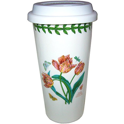 Portmeirion Botanic Garden Travel Mug with Silicone Lid - Pink Parrot Tulips (Double Parrot Tulip)