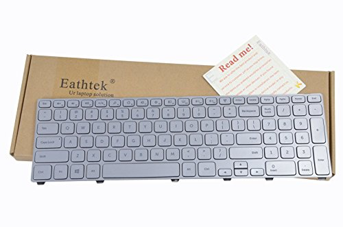 Eathtek Replacement Keyboard with Backlit and Silver Frame for DELL Inspiron 17-7000 17-7737 0P4G0N P4G0N NSK-LH0BW Series Silver US Layout (Cant Used for 15-7000 15-7737 Series Laptop.)