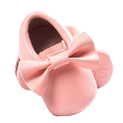 Ouneed® Krabbelschuhe , Weihnachten Baby Crib Tassels Bowknot Shoes Toddler Sneakers Casual Non slip Shoes Rosa