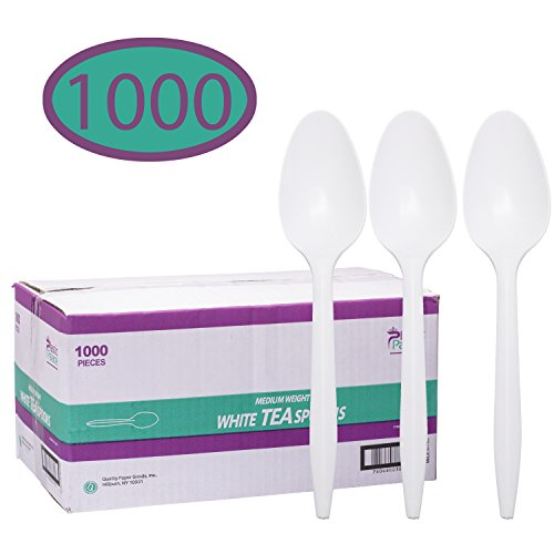 Disposable Plastic Cutlery in Bulk, Medium Weight & White (Case of 1000) by Plastic Palace (Tea (Bulk Plastic Spoons)