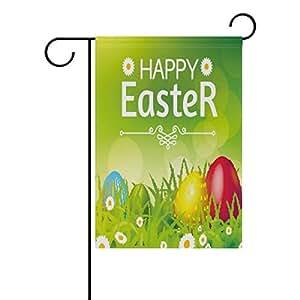 ALAZA feliz colorido huevos de Pascua poliéster bandera de Jardín Casa Banner 12x 18inch, dos Sided bandera de bienvenida Patio Decoración para Boda Fiesta Decoración para el hogar
