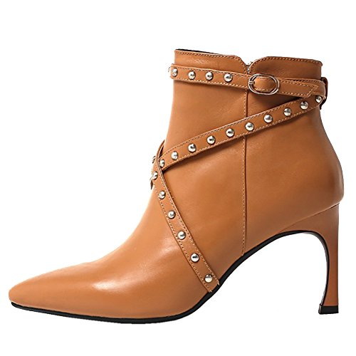 Women's Ankle Boots,MERUMOTE Middle Heels Cone Heel Leather Shoes for Winter Party Daily Wear Brown with straps rivets