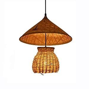 LQRYJDZ Bamboo lamp, Creative Straw hat Chandelier, Retro Restaurant Southeast Asian Style Decorative Lamps