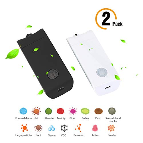 Jaklove Portable Wearable Mini Negative Ion Air Purifier, Personal USB Charging Air Purifiers, Remove Allergies Odors Dust, No Radiation Low Noise for Adults Kids. 2pack