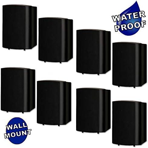 Theater Solutions TS425ODB Indoor or Outdoor Speakers Weatherproof Mountable Black 4 Pair Pack