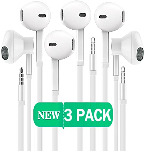 Certified iTech Gadgets Headphones [3 Pack] Earphones with Microphone Premium Earbuds Stereo and Noise Isolating Headset for Apple iPhone iPod iPad Samsung Galaxy LG HTC Other 3.5MM Devices (White)