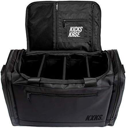KXKS. (Kicks Kase) Premium Sneaker Bag & Travel Duffel Bag – 3 adjustable compartment dividers – For shoes, clothing and gym (Triple Black)