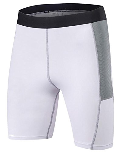 Voler Shorts - Alion Men's Fashion Compression Shorts Sports Baselayer Cool Dry Tights White S